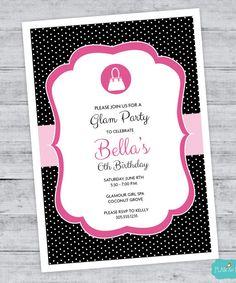 Fashionista Birthday Invitation, Fashion Purse Party, Barbie, Glamour, Girl Birthday, Quinceañera, Sweet 16, DIGITAL PRINTABLE FILE