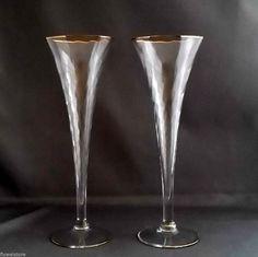 Vintage Crystal Champagne Flutes (2) Optic Trumpet/Hollow Stem Glasses Gold Trim #Vintage #optic