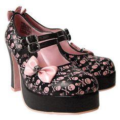 skull furniture for sale | SALE! T.U.K. Black/Pink Skull and Crossbone Platform Heel Shoe w