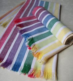Your place to buy and sell all things handmade Striped Towels, Vintage Dishes, Dish Towels, All The Colors, Stripes, Pairs, Morse Code, Bright, Crafty