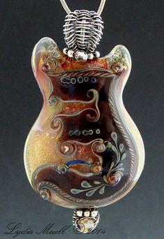 Rhythmic Shimmer Lampwork Bead Pendant