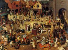 Pieter Bruegel the Elder : The Battle Between Carnival and Lent - Kunsthistorisches Museum, Wien Renaissance Artists, Renaissance Paintings, Pieter Brueghel El Viejo, Kunsthistorisches Museum Wien, Pieter Bruegel The Elder, Landsknecht, Great Paintings, Dark Ages, Museum Of Fine Arts