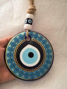 Large modern evil eye wall hanging- evil eye hanging-Turkish nazar beads-Greek evil eye-evil eye decoration-Mal Ojo or El Oja-Ayin Harsha