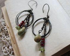 oxidized patina wire hoop earrings with dangle beads by jiorji, $30.00