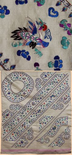 Antique A Set of Unusual Embroidered Uncut Facings for A Han Chinese Woman's Robe. 1800-1900