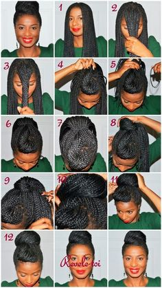 Wearing a high bun is a great professional hairstyle that can be created with yarn braids , yarn twists , and kinky twists. View the pictori...