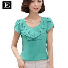 EveingAsky Office Women Shirts Blouses White Pink Purple Elegant Ladies Chiffon Blouse Short Sleeve Womens Tops Chemise Femme-Women's Blouses-Enso Store-blue-M-Enso Store Blouse Patterns, Blouse Designs, Blouse And Skirt, Elegant Woman, Shirt Blouses, Women's Shirts, Blouses For Women, Ideias Fashion, Fashion Dresses
