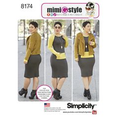 Simplicity 8174 Misses' Dress and Moto Jacket from Mimi G Style sewing pattern
