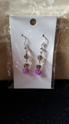 Brown clear and purple earrings