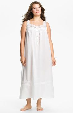 Eileen West Lace Trim Sleeveless Nightgown (Plus Size)  57f53f673