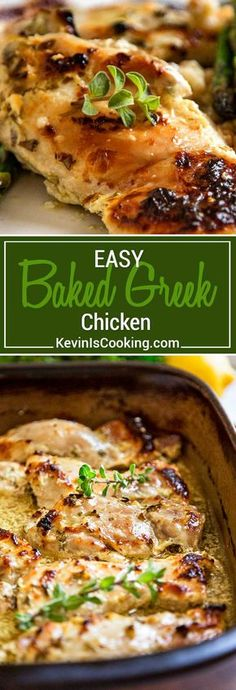 This amazingly delicious Easy Baked Greek Chicken starts with a marinade of lemon, garlic, oregano, olive oil, pepper flakes and thick Greek yogurt. So good! via @keviniscooking
