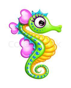 Animated Seahorse | Stock image of 'Whimsical Cartoon Girl Seahorse'