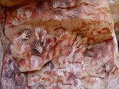 Cave of the Hands (Cueva de las Manos) Santa Cruz province in Argentina [ via Cave painting - Wikipedia, the free encyclopedia]