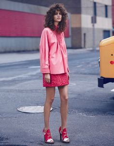 Antonina Petkovic hits the street in a pink Fendi top and short skirt for Vogue Mexico Magazine March 2016 issue