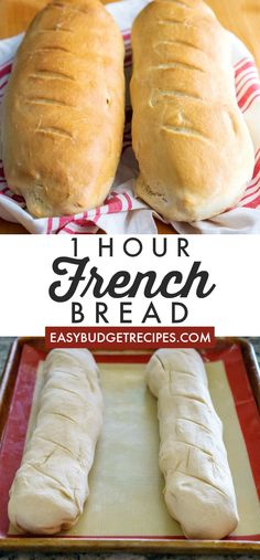 This French Bread recipe takes just one hour from start to finish. It makes 2 la… This French Bread recipe takes just one hour from start to finish. It makes 2 large loaves that serve 8 people each and will cost just per serving! Easy French Bread Recipe, Easy Bread Recipes, Baking Recipes, Dessert Recipes, Homemade French Bread, One Hour Bread Recipe, Recipe For Making Bread, Basic Bread Recipe No Yeast, Sweet Bread Dough Recipe
