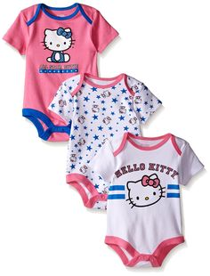 Hello Kitty Baby Girls' Value Pack Bodysuits, Pink/Blue, Months: Three unique multi- colored Hello Kitty bodysuits, ring snaps and screen print Disney Baby Clothes, Big Girl Clothes, Cute Baby Clothes, Baby & Toddler Clothing, Toddler Outfits, Kids Outfits, Hello Kitty Baby Clothes, Babies Clothes, Baby Outfits