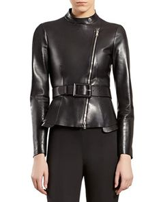Black Leather Zip-Front Jacket by Gucci at Neiman Marcus.