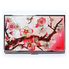 Business card case id holder slim money wallet metal korean mother apricot tree korean mother of pearl business card case metal id card holder slim money wallet colourmoves