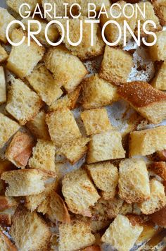 Use leftover or stale bread and leftover bacon grease to create this homemade recipe for Garlic Bacon Croutons! Homemade Buns, Homemade Dinner Rolls, Homemade Croutons, Savoury Baking, Savoury Dishes, Food Dishes, Main Dish Salads, Soup And Salad, Quick Easy Meals