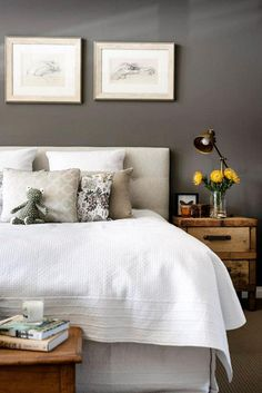 Bedroom with gray walls & pretty linens by Collected Interiors, Perth, Australia