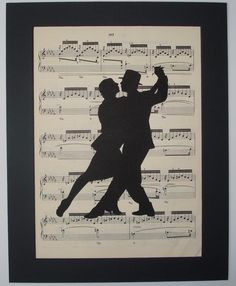 TANGO Silhouette sheet music art music book page print. $8,00, via Etsy.