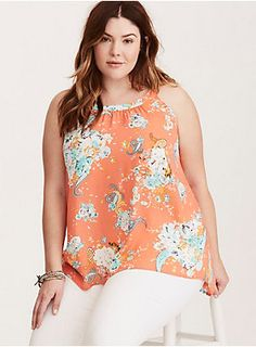 """<div>The bright coral georgette on this tank top is the perfect eye-popping contrast to the multi-color, boho-inspired floral and paisley print. The high neck keeps you covered up, while the keyhole cutout back insists on showing off. The hi-lo hem is easy-breezy.</div><div><br></div><div><b>Model is 5'9"""", size 1</b></div><div><ul><li style=""""list-style-position: inside !important; list-style-type: disc !important"""">Size 1 measures 29 1/4"""" from shoulder</li><li style=""""list-style-po..."""