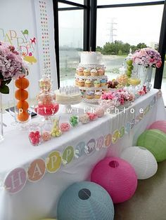 Birthday idea- love the colors!  credit: partywithchloe.com