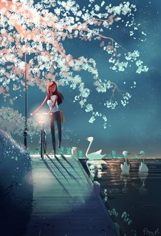 by Pascal Campion : ImaginarySliceOfLife Pretty Art, Cute Art, Pascal Campion, Illustration Mode, Digital Art Girl, Anime Scenery, Anime Art Girl, Aesthetic Art, Cartoon Art