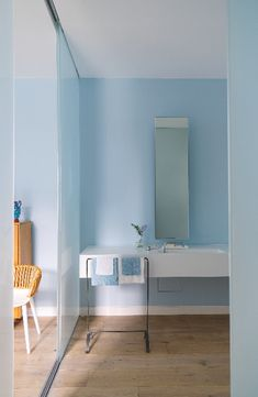 Sky Blue Paint, Blue Bedroom Paint, Blue Painted Walls, Blue Walls, Tricia Guild, Paint Shades, Glass Partition, Uk Homes, Light And Space