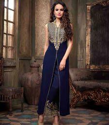 Buy Styles Closet Blue embroidered georgette semi stitched salwar with dupatta party-wear-salwar-kameez online