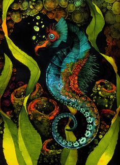 Seahorse in Blue Art Print by S.G.D. | Society6