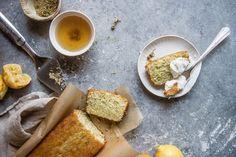 chamomile lemon loaf cake | two red bowls