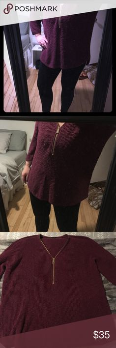 Chunky sweater Chunky maroon sweater from express. I've worn it a handful of times, but in good condition! Has a lot of life left in it. No big snags. Its supposed to be a loose fit. Zipper is adjustable. Three quarter length sleeve. Longer in the back. Perfect with leggings Express Sweaters V-Necks