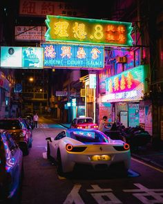 Caught a nice Ferrari under the neon signs of Hong Kong Nocturne, Car Photography, Street Photography, Neon Car, Street Racing Cars, Latest Cars, Car In The World, Expensive Cars, Neon Lighting