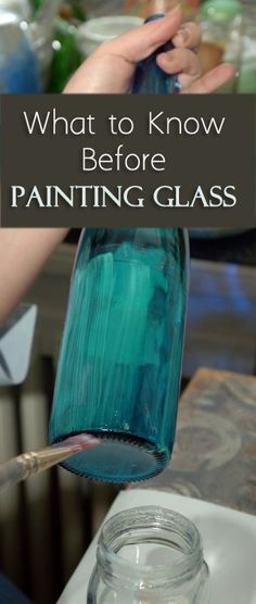 What to Know Before Painting Glass; includes instructions for baking painted glass to increase durability Painted Wine Bottles, Painted Wine Glasses, Bottles And Jars, Paint Bottles, Painted Glass Windows, Painted Glass Bottles, Decorate Wine Bottles, Painted Glass Blocks, Decorated Wine Glasses