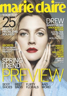 Drew Barrymore On 'Marie Claire' -- Get Her Exact Mani