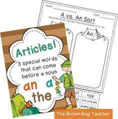 {FREE} Articles Anchor Chart & Activity! Great way to teach 'a', 'an', and 'the'. :)