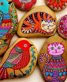 Rock Painting Patterns, Rock Painting Ideas Easy, Dot Art Painting, Rock Painting Designs, Pebble Painting, Pebble Art, Stone Painting, Painted Rock Animals, Painted Rocks Craft