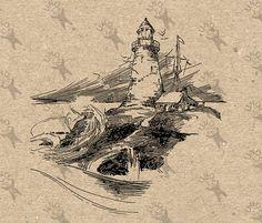 Antique Lighthouse light tower storm image Instant от UnoPrint
