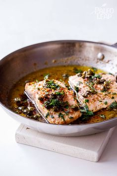 Salmon with Lemon-Butter and Capers #Paleo