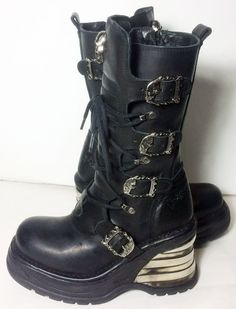 New Rock Lace Up Knee High Skull Ladies Black Leather Gothic Motorcycle Boots Women's Size 38 Size 7  Price: $179.99 ITEM DESCRIPTION: Those New Rock boots are totally stunning military inspired boots that extremely versatile and perfect for everyday wear! At Eagleages.com we sell vintage boots. https://www.etsy.com/listing/274713008/new-rock-lace-up-knee-high-skull-ladies?ref=shop_home_listings