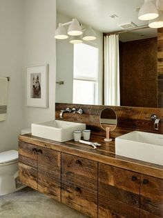 beautiful bathroom vanity of reclaimed barn boards, and how to use and protect barn boards in a bathroom