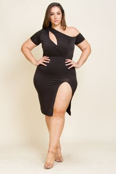 Plus size sexy front midi dress