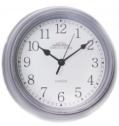 Shabby Chic Vintage Small Kitchen King's Cross London Wall Hanging Clock ~ Grey Delightful small King's Cross wall clock Crafted with a distressed casing to give an aged effect Easy to read b