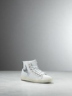 Acquista Scarpa Sneakers alta in pelle, in nappa di Vitello, con inserti in camoscio, apertura con zip laterale, suola basket in gomma, Altezza 8,5cm