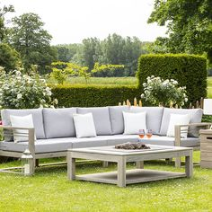 Snuggle in style with this Tahiti Teak Corner Sofa Set with Lounge Chair & Gas Fire Pit by LIFE. Corner Seating, Corner Sofa Set, All Weather Garden Furniture, Lounge Furniture, Outdoor Furniture Sets, Garden Sofa Set, Diy Pallet Sofa, Outdoor Sofa, Outdoor Decor