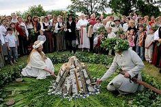 Making fire for Summer Solstice - Līgo