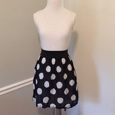 Skater dress White cotton top with black and white polka dot skirt. Skirt is linen like and lined. Super cute! Dresses Mini