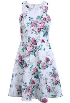 White Sleeveless Green Floral Backless Ruffle Dress 0.00