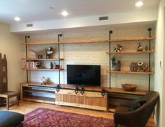Custom Made Industrial Media Console W/ Barn Doors